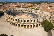 arènes de Nîmes vues du ciel