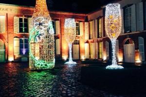 sculpture bouteille et flûtes de champagne